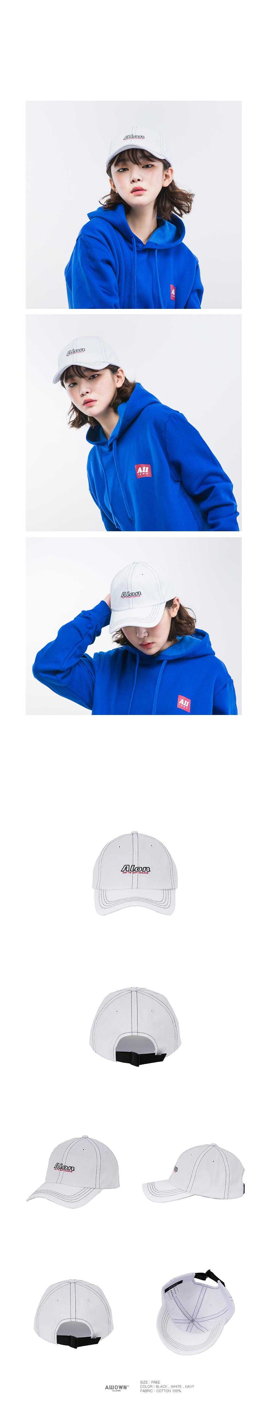 올라온 - Stitch ballcap - White
